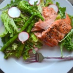 Grilled Salmon over Asparagus, Radish, Baby Red Potatoes and Mixed Greens