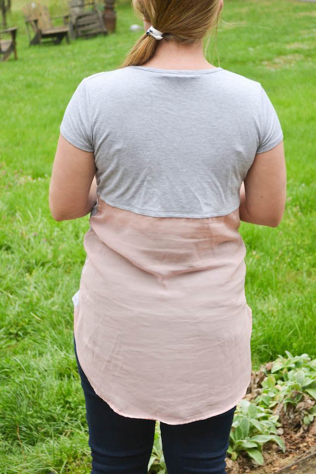 Back of the Loveappella Plumeria Mixed Material Maternity Top