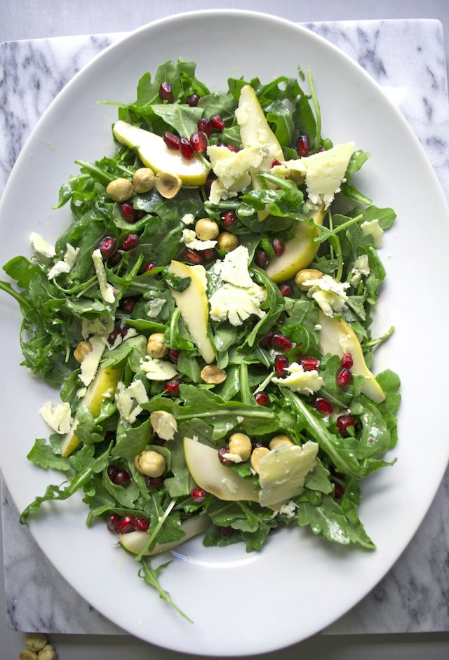 Winter Salad with Pomegranates, Pear and Stilton Cheese