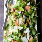 Baby Kale Salad with Chorizo, Manchego and Crispy Leeks