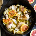 White Wine Braised Chicken with Jerusalem Artichoke and Blood Orange