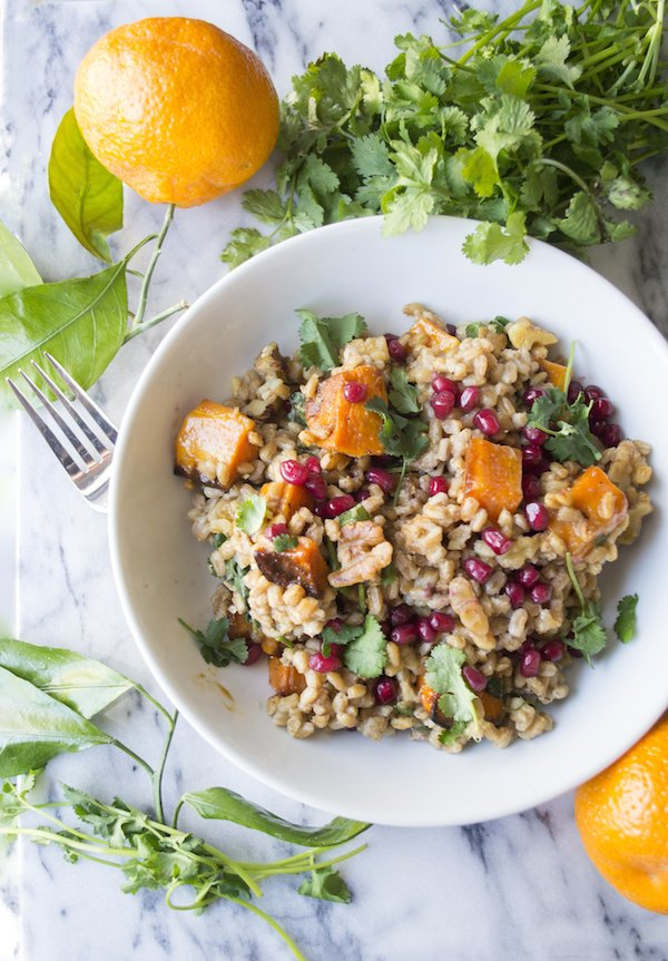 Warm Farro Salad with Butternut Squash and Pomagranate