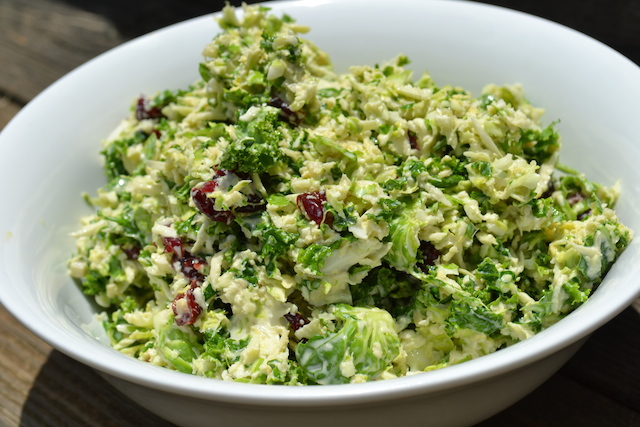 Kale and Brussel Sprout Coleslaw with a Tangy Vinaigrette