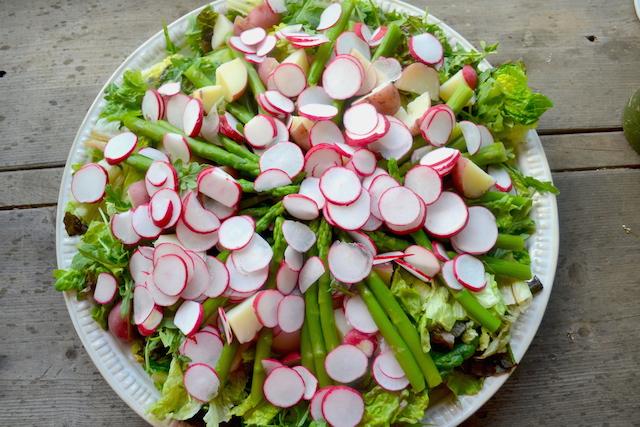 Radish, Asparagus and Potatoes with Mixed Greens