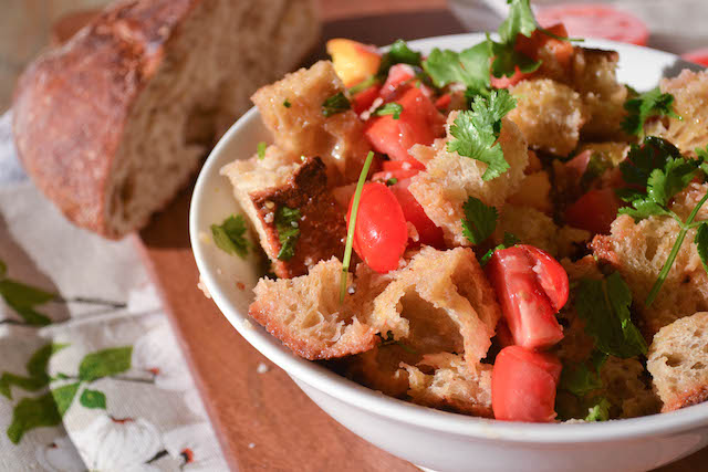 Peach and Mint Panzanella Salad