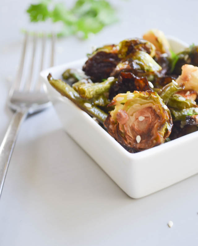 Roasted Brussel Sprouts and Green Beans with Asian Vinaigrette