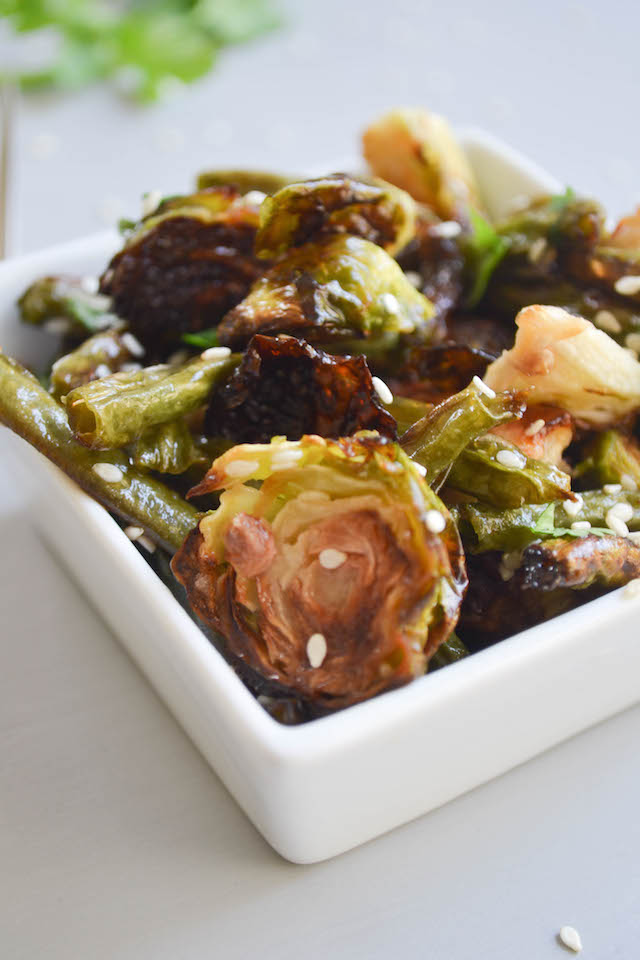 Roasted Brussel Sprouts and Green Beans