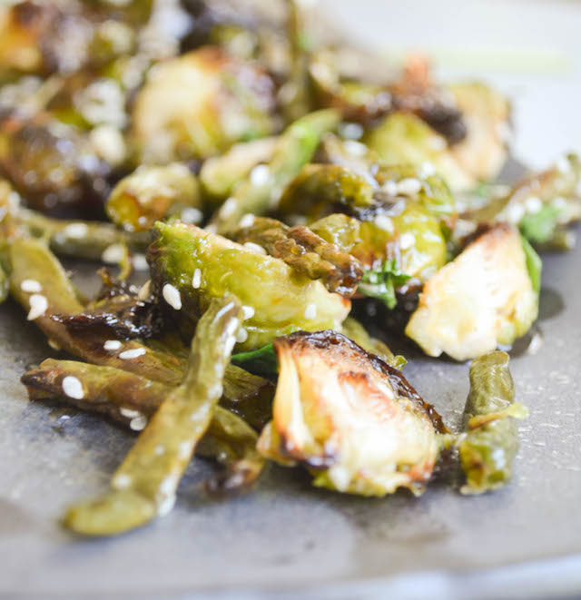 Roasted Sprouts and Beans