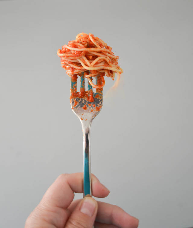 Homemade Tomato Sauce on a Fork