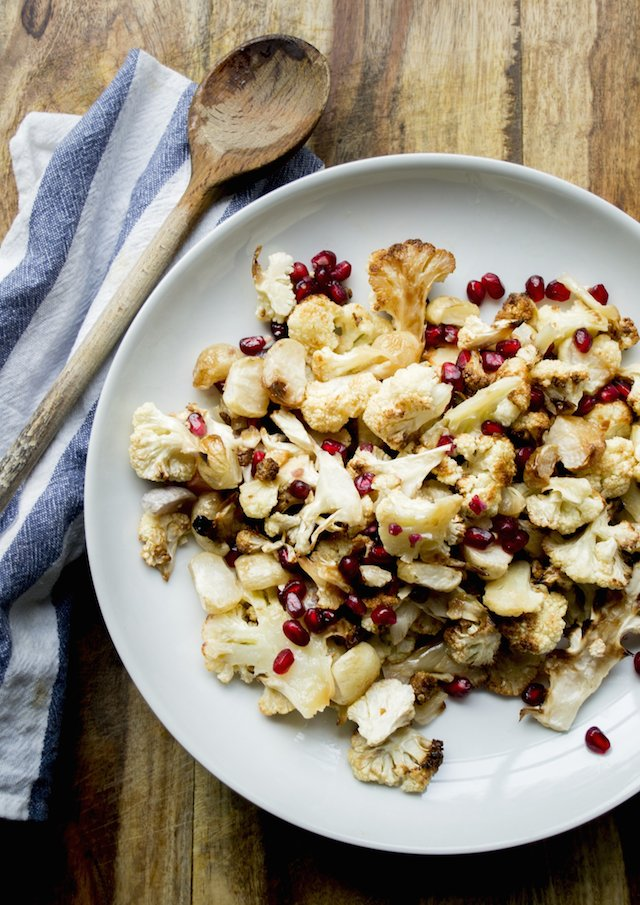 Beautiful roasted cauliflower and pomegranate seeds for the holiday season