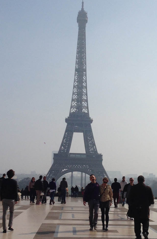 View of the Eiffel Tower from Trocadero on a hazy afternoon