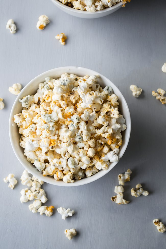 Buffalo Popcorn with Blue Cheese Crumbles
