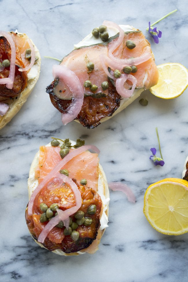 Bagels and Lox with Roasted Tomatoes and Pickled Onions