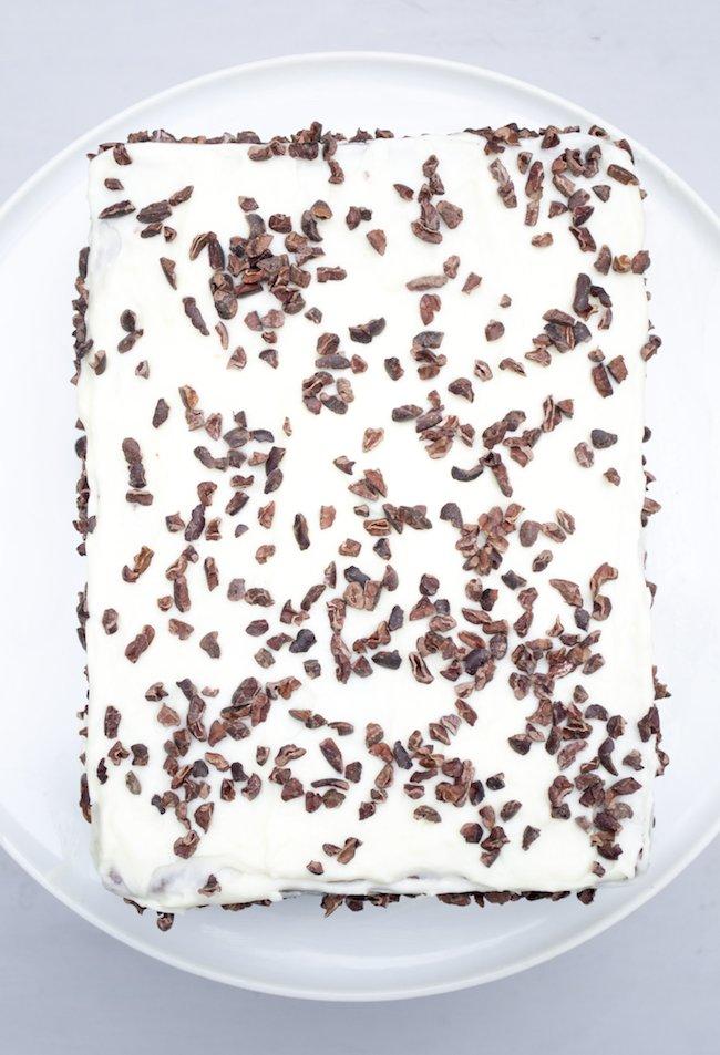 Chocolate Crème Fraîche Cake with Crème Fraîche Cocoa Nib Frosting